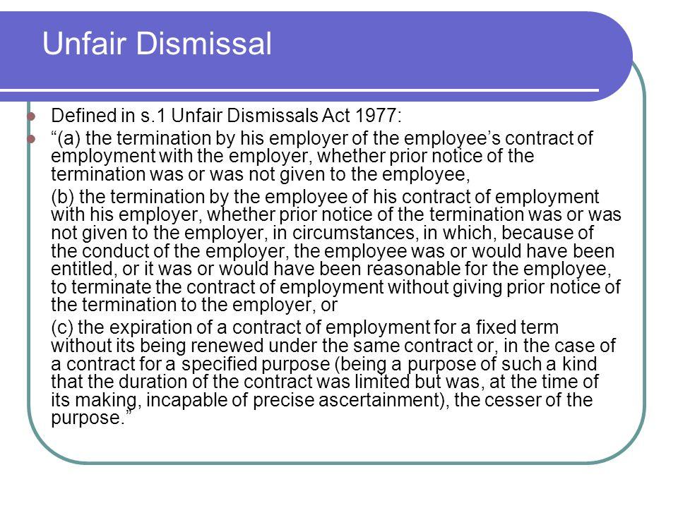 10 Unfair Dismissal Defined ...