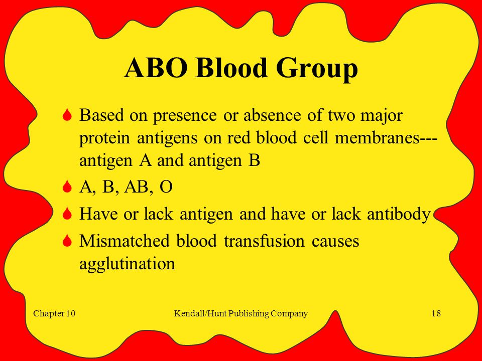 Chapter 10Kendall/Hunt Publishing Company18 ABO Blood Group  Based on presence or absence of two major protein antigens on red blood cell membranes--- antigen A and antigen B  A, B, AB, O  Have or lack antigen and have or lack antibody  Mismatched blood transfusion causes agglutination
