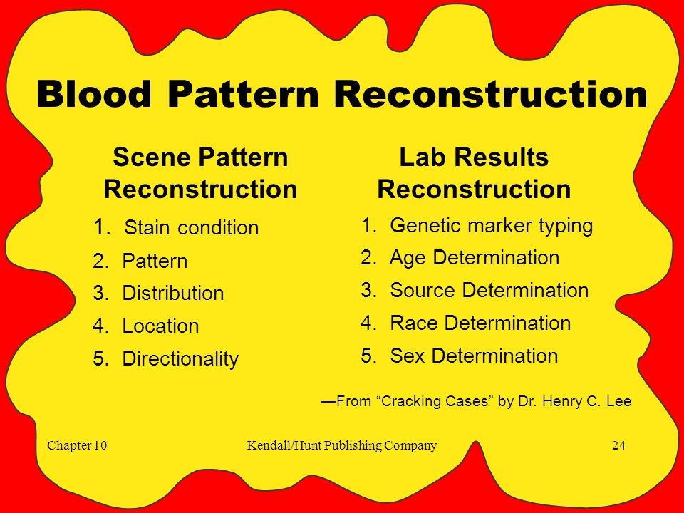 Chapter 10Kendall/Hunt Publishing Company24 Blood Pattern Reconstruction Scene Pattern Reconstruction 1.