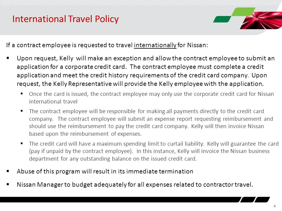 2014 kellynissan contract employee travel policy for nna ppt 4 international travel policy if a contract employee is requested to travel internationally for nissan colourmoves Gallery