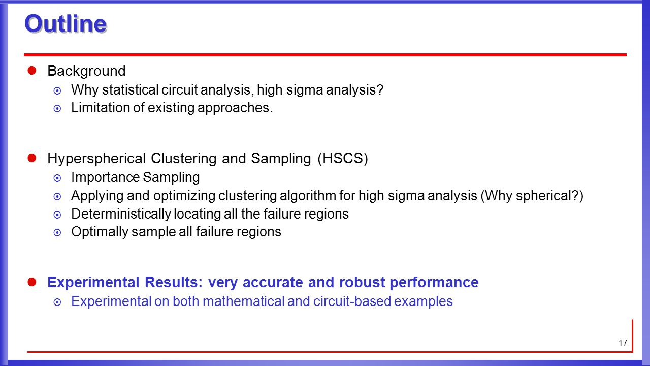 Hyperspherical Clustering And Sampling For Rare Event Analysis With Optimizing Circuit Performance Outline Background Why Statistical High Sigma