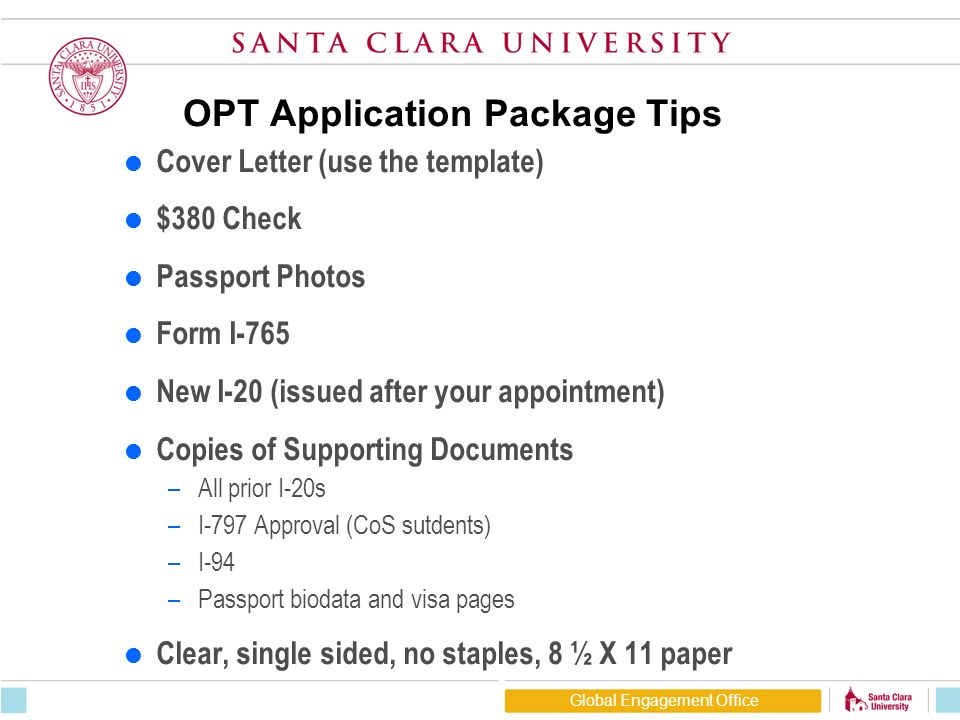 Opt Application Package Tips Cover Letter Use The Template 380 Check