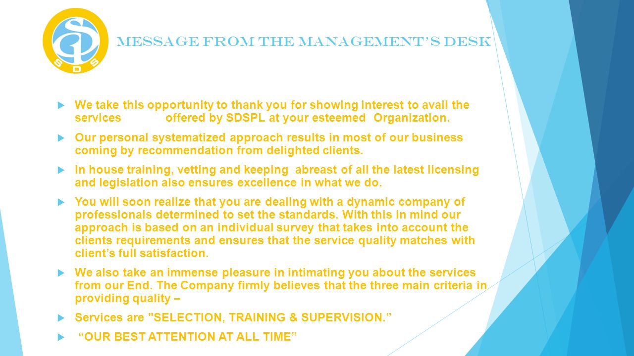 Message From The Management S Desk We Take This Opportunity To Thank You For Showing Interest