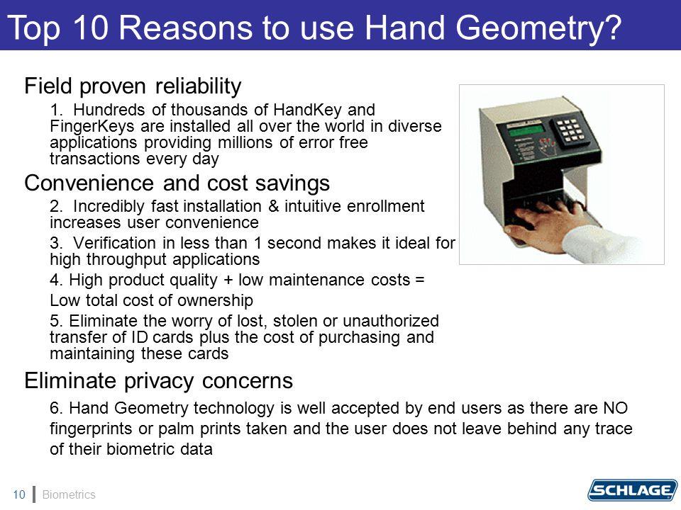Biometrics10 Field proven reliability 1.