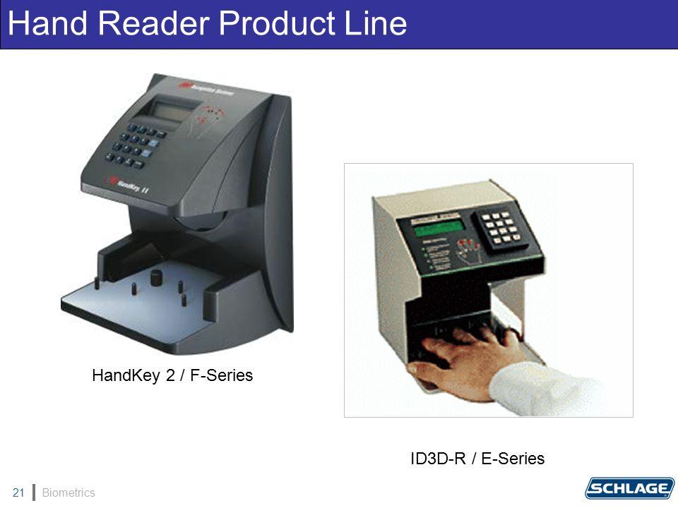 Biometrics21 Hand Reader Product Line ID3D-R / E-Series HandKey 2 / F-Series