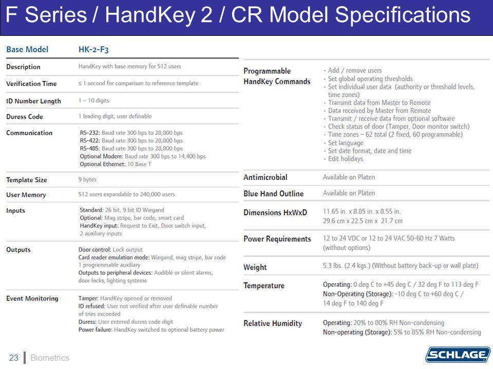 Biometrics23 F Series / HandKey 2 / CR Model Specifications