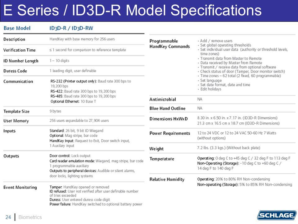 Biometrics24 E Series / ID3D-R Model Specifications