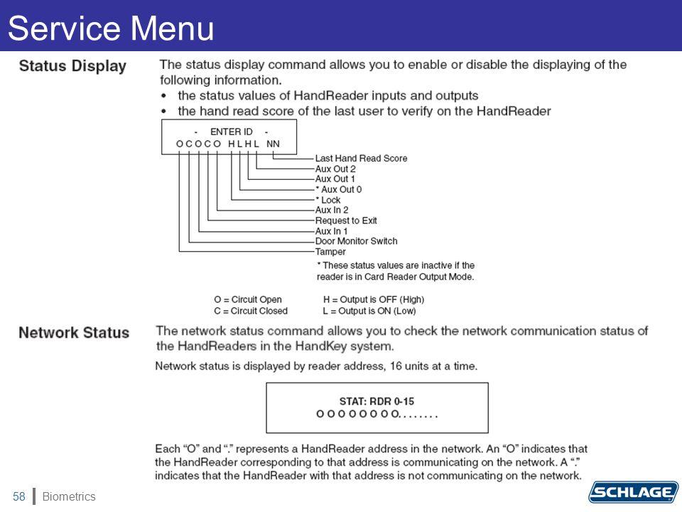 Biometrics58 Service Menu