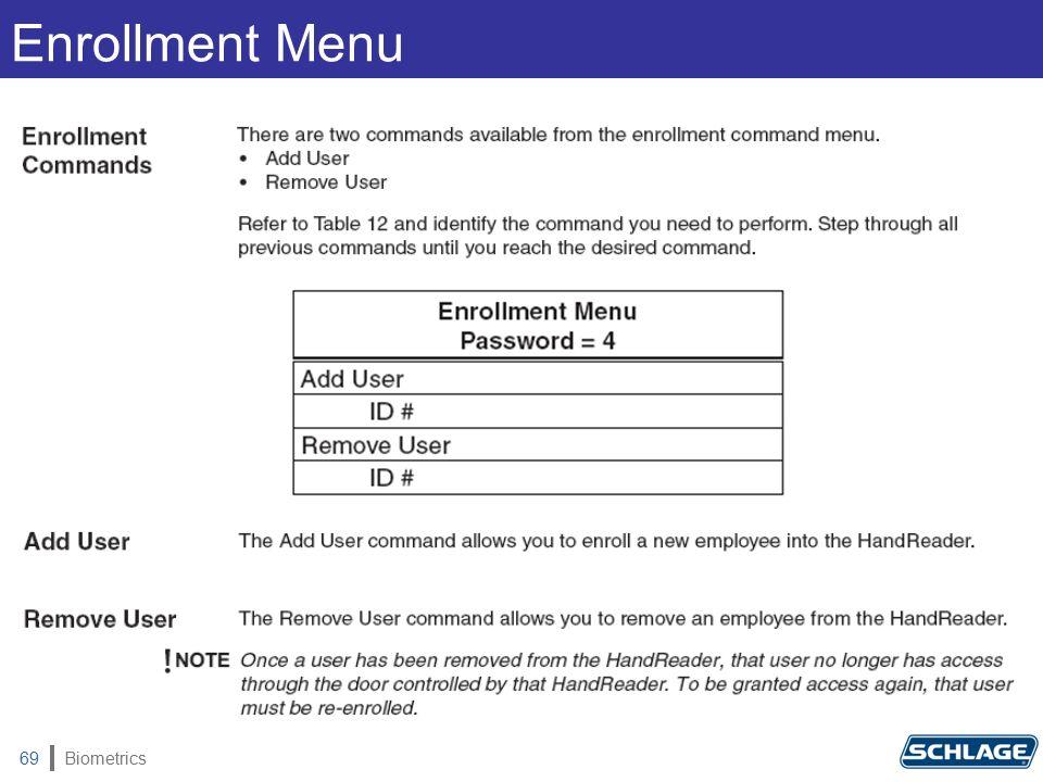 Biometrics69 Enrollment Menu