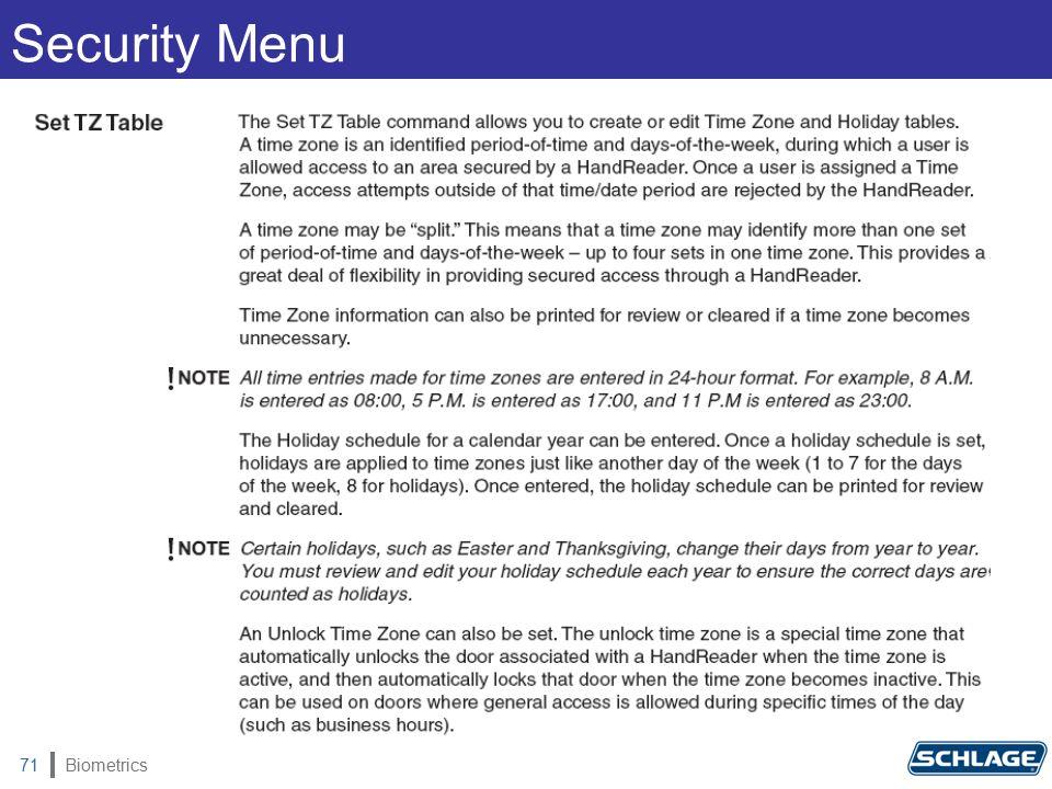 Biometrics71 Security Menu