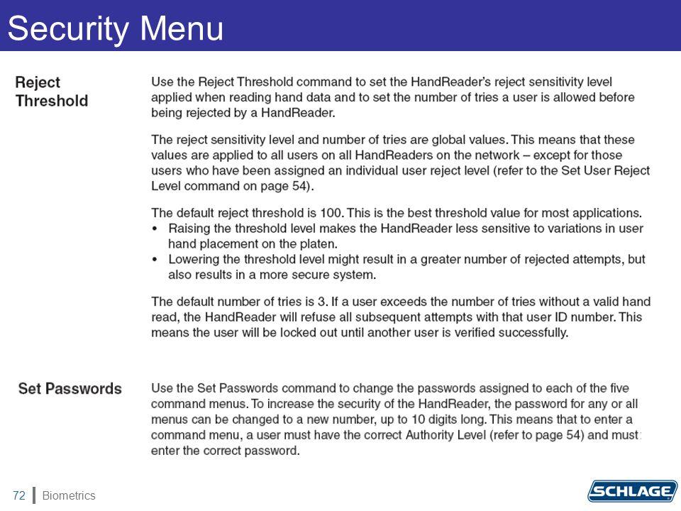 Biometrics72 Security Menu