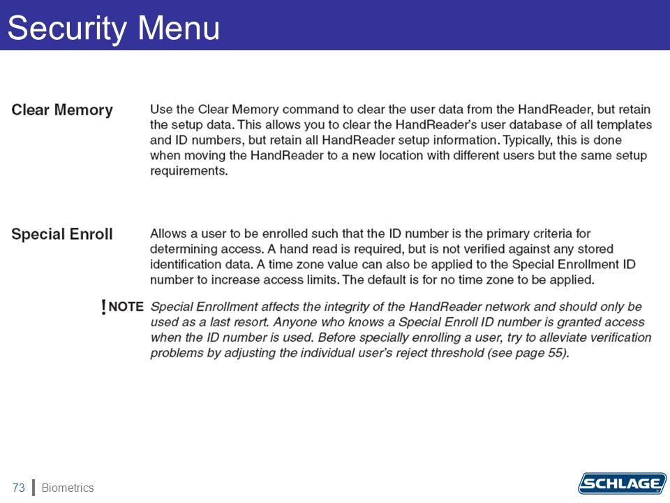 Biometrics73 Security Menu