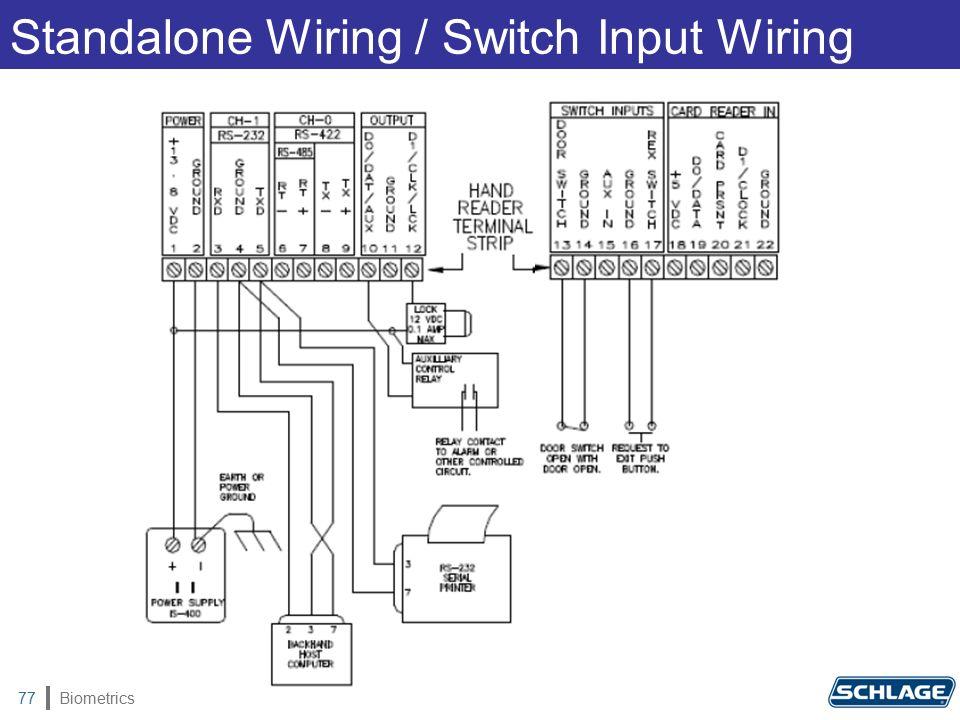 Biometrics77 Standalone Wiring / Switch Input Wiring