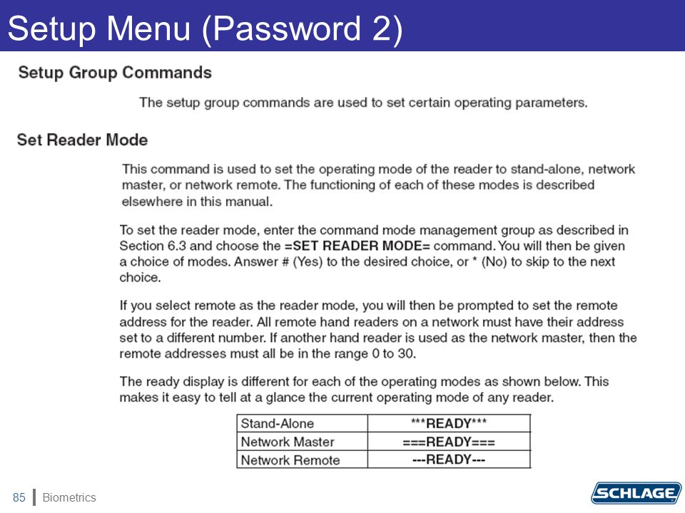 Biometrics85 Setup Menu (Password 2)