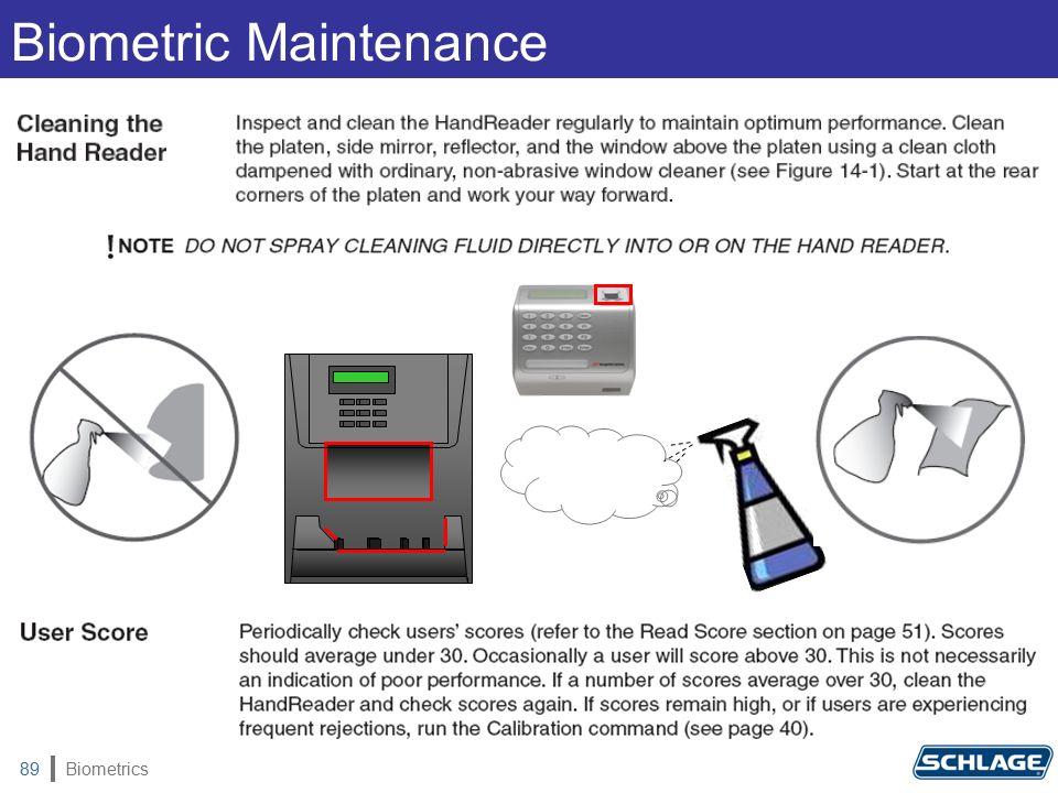 Biometrics89 Biometric Maintenance