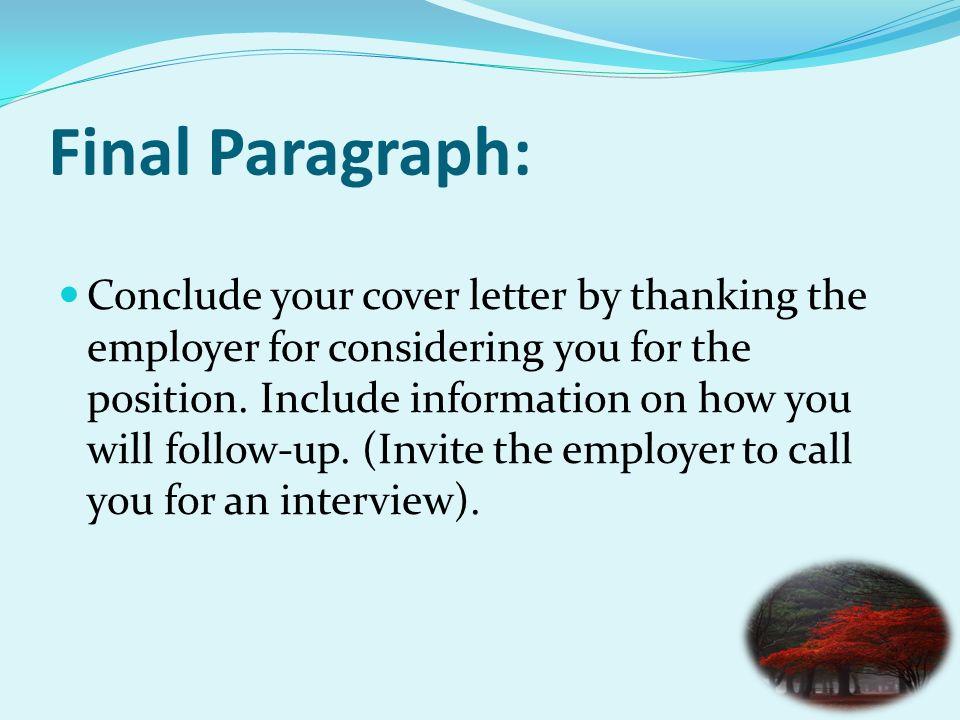 cover letter last sentence