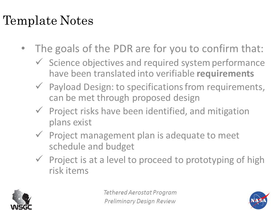 tethered aerostat program preliminary design review team name, Presentation templates