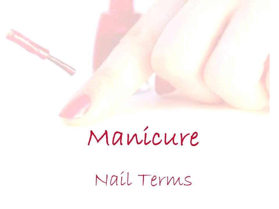 Manicure Nail Terms. Objectives Explain Onychophagy and what causes ...