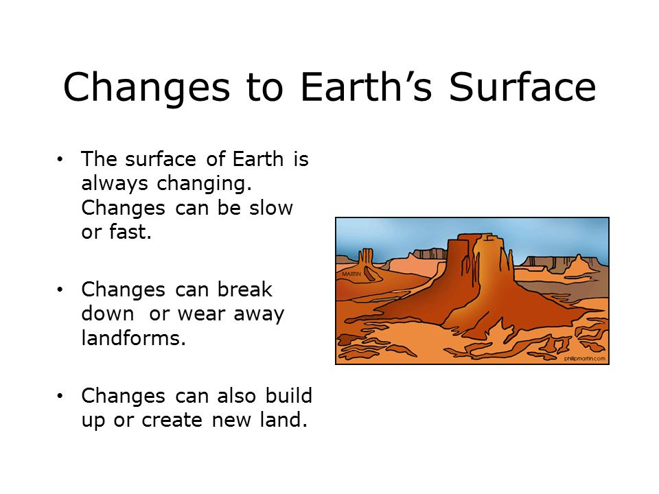 Changes to Earth's Surface The surface of Earth is always changing.