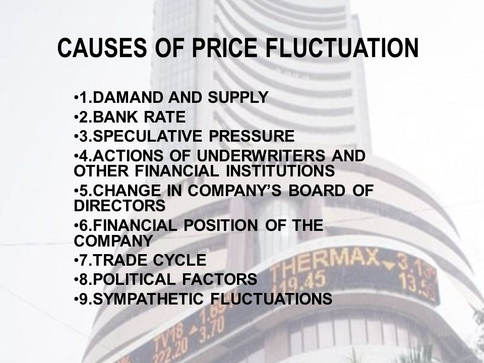 CAUSES OF PRICE FLUCTUATION 1.DAMAND AND SUPPLY 2.BANK RATE 3.SPECULATIVE PRESSURE 4.ACTIONS OF UNDERWRITERS AND OTHER FINANCIAL INSTITUTIONS 5.CHANGE IN COMPANY'S BOARD OF DIRECTORS 6.FINANCIAL POSITION OF THE COMPANY 7.TRADE CYCLE 8.POLITICAL FACTORS 9.SYMPATHETIC FLUCTUATIONS