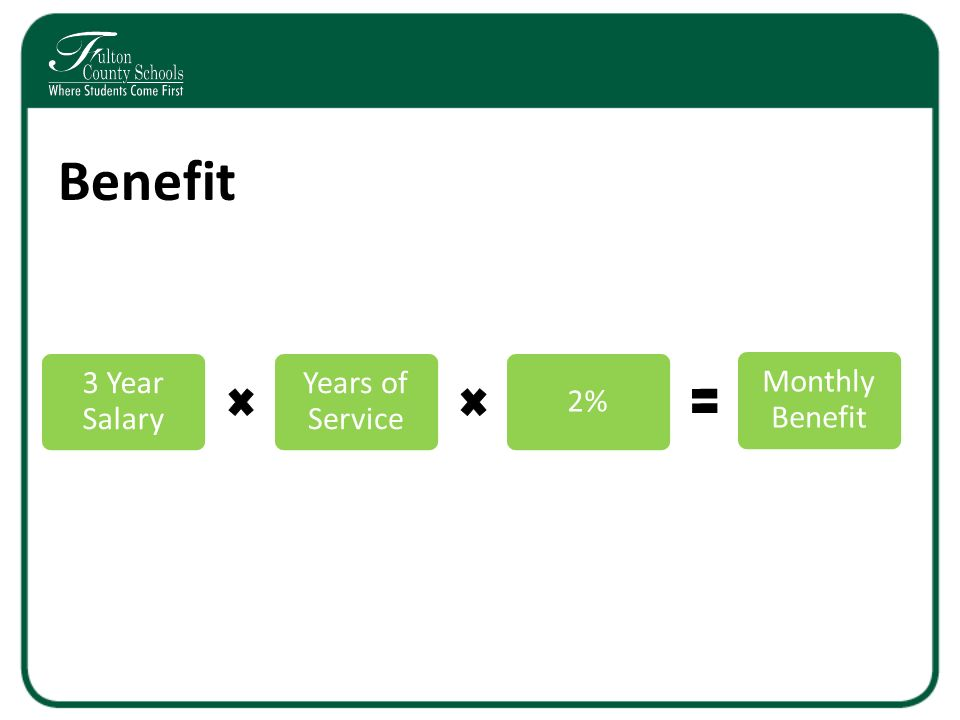 Benefit 3 Year Salary Years of Service 2% Monthly Benefit