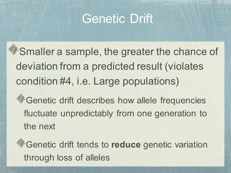 Smaller a sample, the greater the chance of deviation from a predicted result (violates condition #4, i.e.
