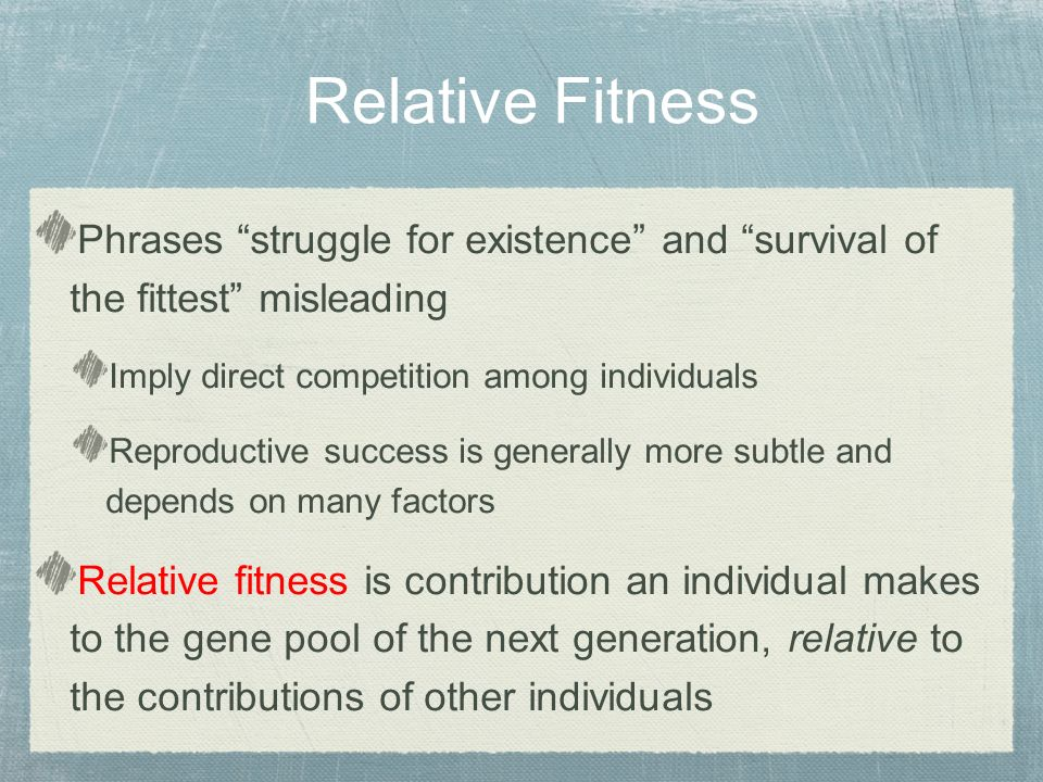 Phrases struggle for existence and survival of the fittest misleading Imply direct competition among individuals Reproductive success is generally more subtle and depends on many factors Relative fitness is contribution an individual makes to the gene pool of the next generation, relative to the contributions of other individuals Relative Fitness