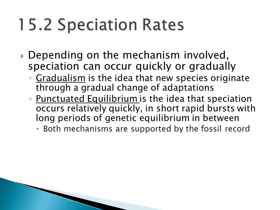  Depending on the mechanism involved, speciation can occur quickly or gradually ◦ Gradualism is the idea that new species originate through a gradual change of adaptations ◦ Punctuated Equilibrium is the idea that speciation occurs relatively quickly, in short rapid bursts with long periods of genetic equilibrium in between  Both mechanisms are supported by the fossil record