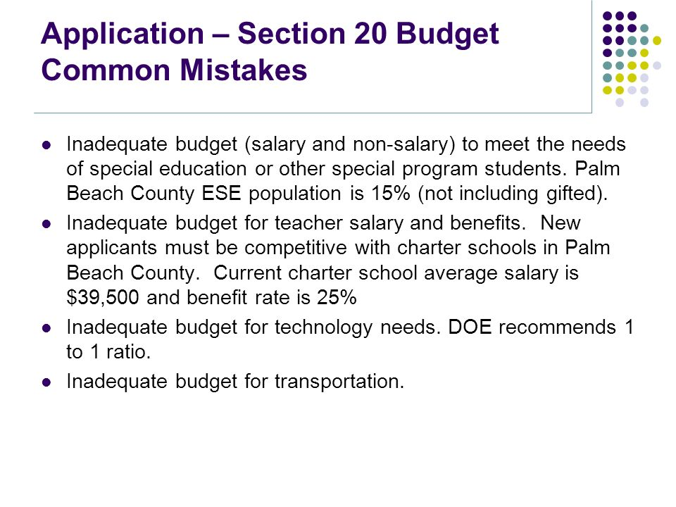 Charter school new applicant workshop may 2 ppt download application section 20 budget common mistakes inadequate budget salary and non salary pronofoot35fo Image collections
