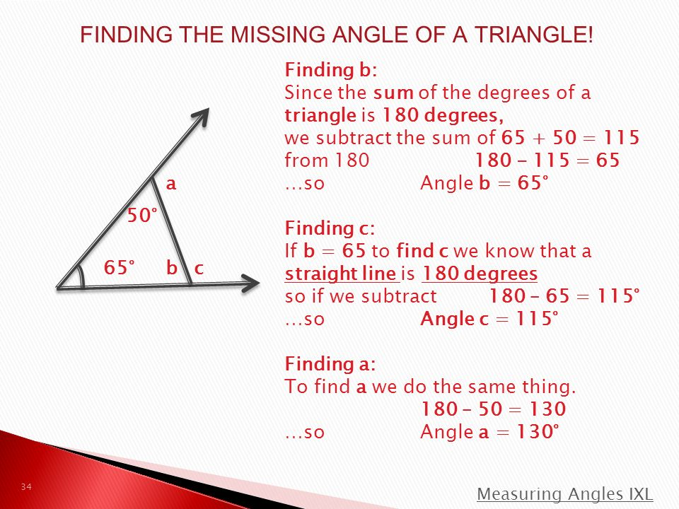 FINDING THE MISSING ANGLE OF A TRIANGLE.