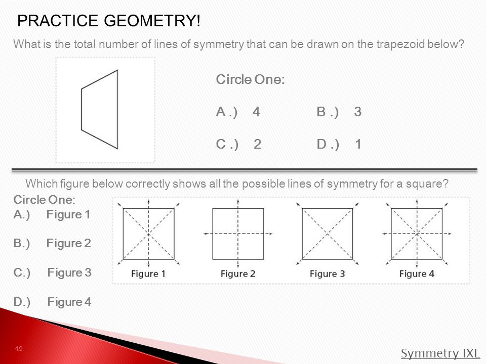 What is the total number of lines of symmetry that can be drawn on the trapezoid below.