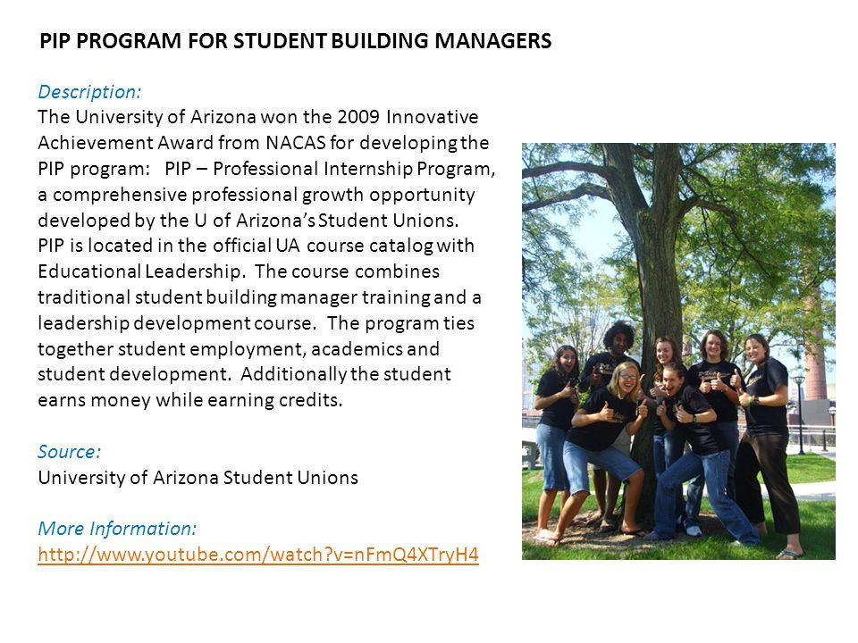 Description: The University of Arizona won the 2009 Innovative Achievement Award from NACAS for developing the PIP program: PIP – Professional Internship Program, a comprehensive professional growth opportunity developed by the U of Arizona's Student Unions.