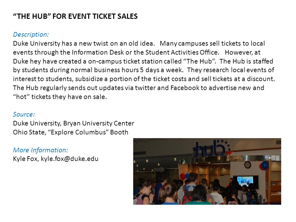 THE HUB FOR EVENT TICKET SALES Description: Duke University has a new twist on an old idea.