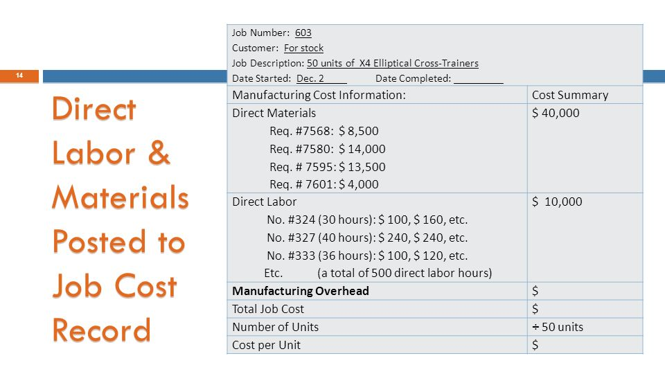 Job Costing: Distinguish Between Job Costing & Process Costing
