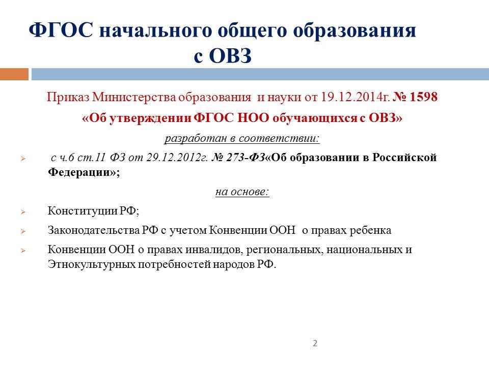 ФГОС начального общего образования с ОВЗ Приказ Министерства образования и науки от 19.12.2014г.