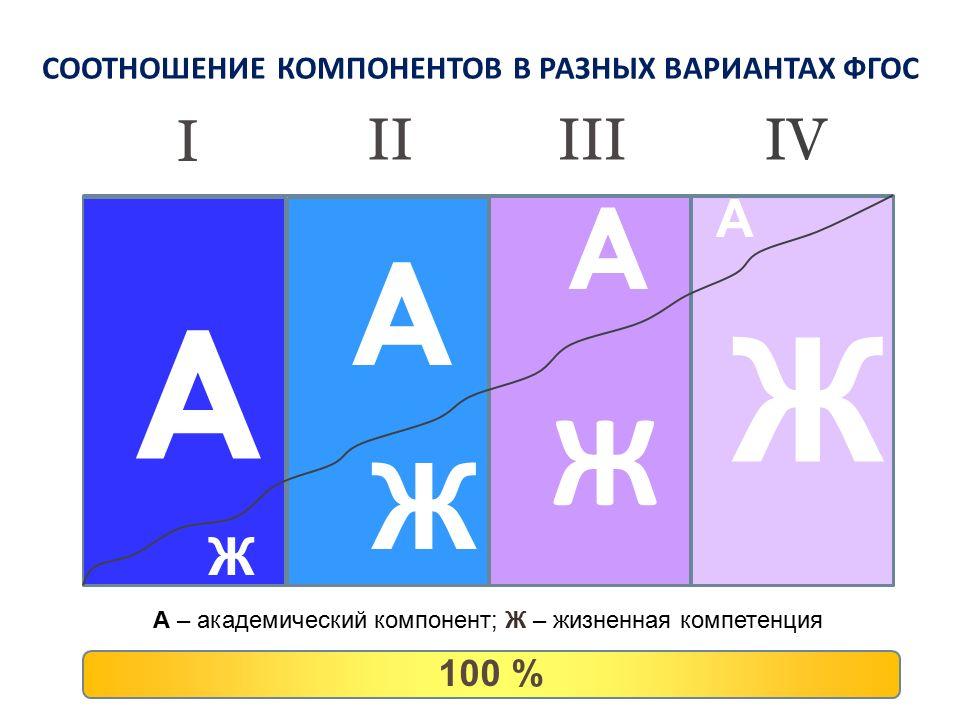 СООТНОШЕНИЕ КОМПОНЕНТОВ В РАЗНЫХ ВАРИАНТАХ ФГОС A A A A Ж Ж Ж Ж A – академический компонент; Ж – жизненная компетенция I 100 % IIIIIIV