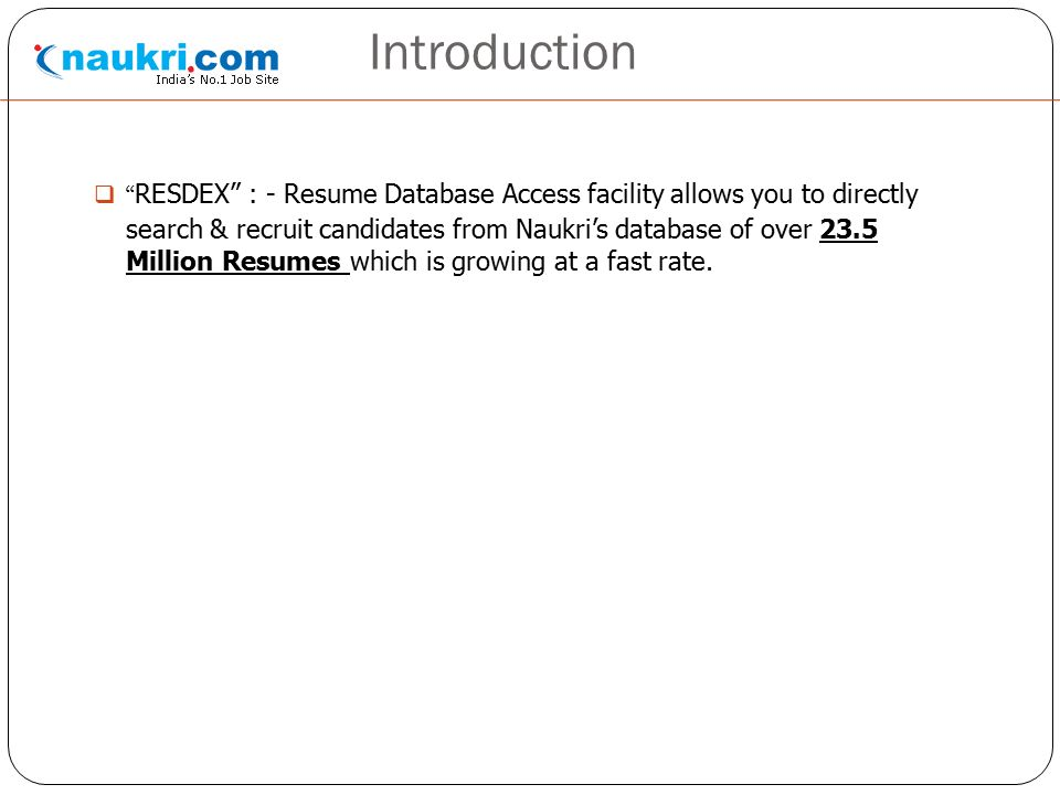 3 introduction resdex resume database