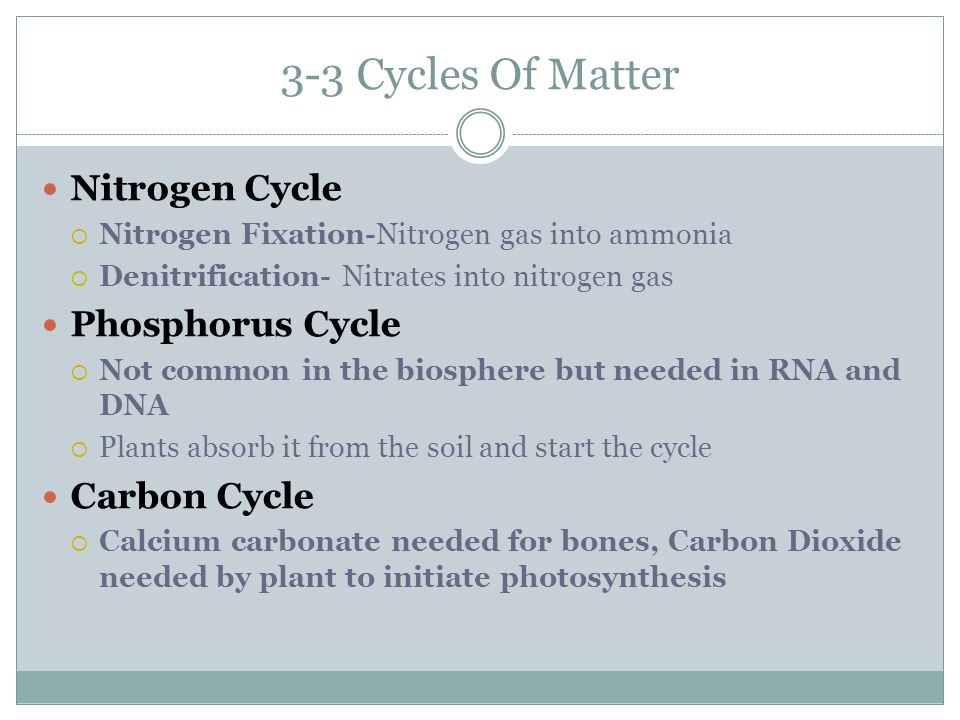 3-3 Cycles Of Matter Nitrogen Cycle  Nitrogen Fixation-Nitrogen gas into ammonia  Denitrification- Nitrates into nitrogen gas Phosphorus Cycle  Not common in the biosphere but needed in RNA and DNA  Plants absorb it from the soil and start the cycle Carbon Cycle  Calcium carbonate needed for bones, Carbon Dioxide needed by plant to initiate photosynthesis