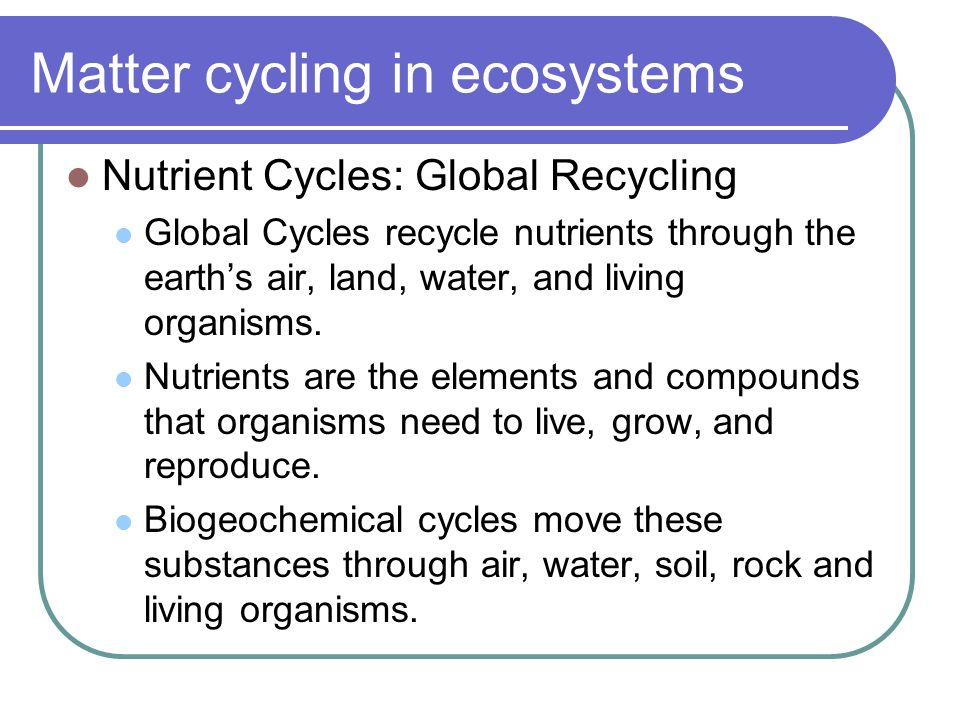 Matter cycling in ecosystems Nutrient Cycles: Global Recycling Global Cycles recycle nutrients through the earth's air, land, water, and living organisms.