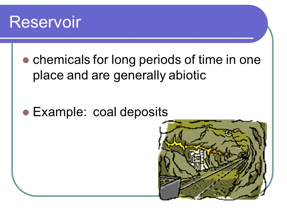 Reservoir chemicals for long periods of time in one place and are generally abiotic Example: coal deposits