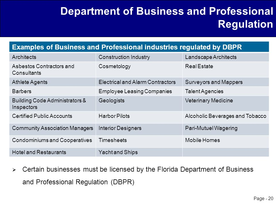 20 Department Of Business And Professional Regulation Certain Businesses Must Be Licensed By The Florida