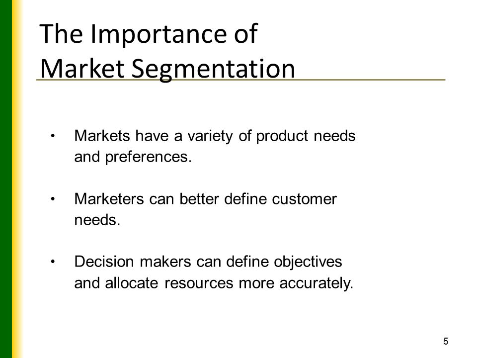 the role and importance of segmentation essay Outline the role of market segmentation in developing a marketing strategy market segmentation refers to the process of dividing the total market into several homogeneous groups it plays an important role in the development of marketing strategies, because most products are targeted at specific market segments.