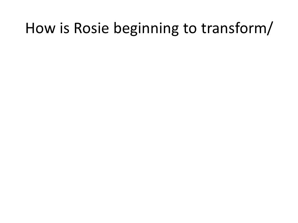 How is Rosie beginning to transform/