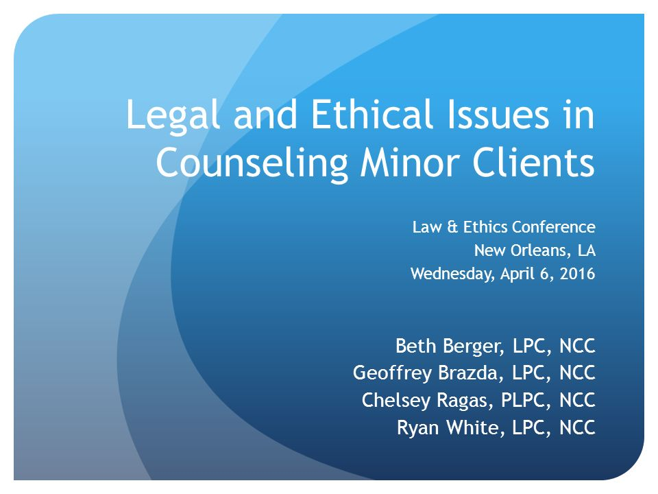 legal and ethical issues in psychopathology Relating these concepts to ethical issues which can arise on meeting a new client, for example, the readiness of that client for psychotherapy at this time the match or mismatch between the needs of the client and the competence of the therapist the competing financial need of the psychotherapist for a client, illustrates that issues of fidelity, justice, beneficence and nonmaleficence are brought to the fore in the first session.