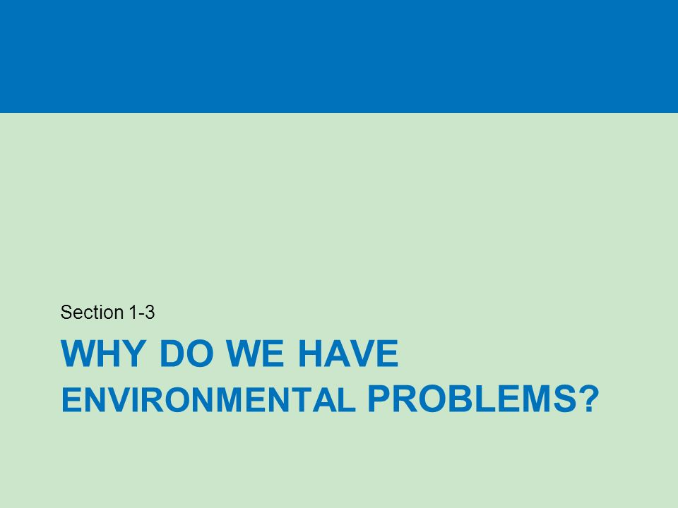 WHY DO WE HAVE ENVIRONMENTAL PROBLEMS Section 1-3