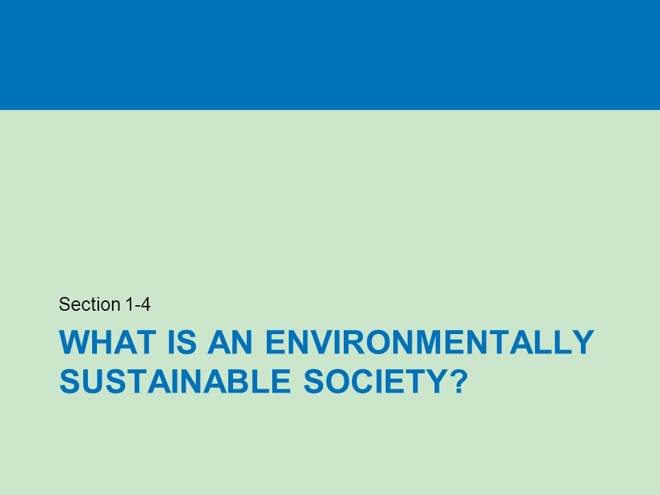 WHAT IS AN ENVIRONMENTALLY SUSTAINABLE SOCIETY Section 1-4