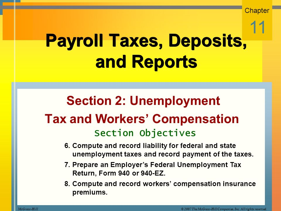 Payroll Taxes Deposits and Reports Section 2 Unemployment Tax – Unemployment Tax Form