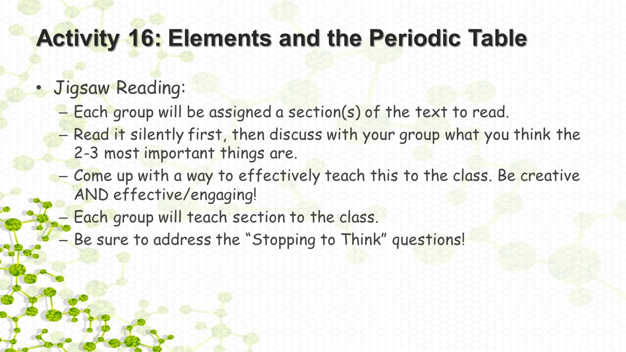activity 16 elements and the periodic table jigsaw reading each group will be - Periodic Table Reading Activity