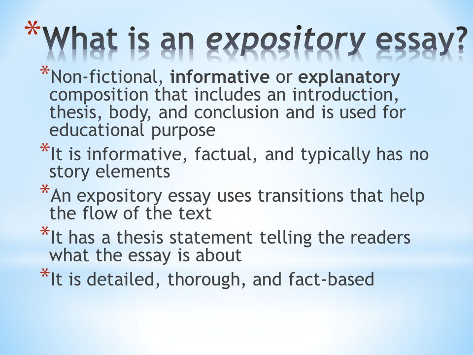 opinions in expository essays Best answer: exposition expose to reveal something hidden an opinion is not worth a tinker's dam in expository writing or speaking because it does not inform, explain, describe, or reveal the details about the topic.