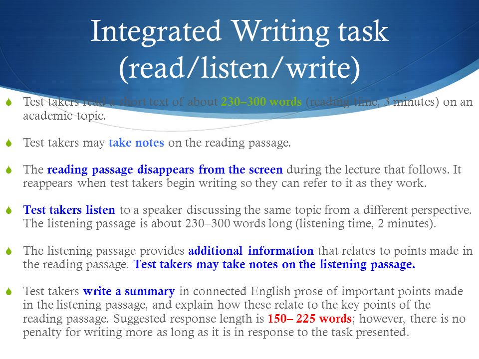 toefl ibt integrated writing topics with answers Toefl writing: integrated tasks and independent tasks all answers to grammar exercises are included toefl ibt: $180 test dates.